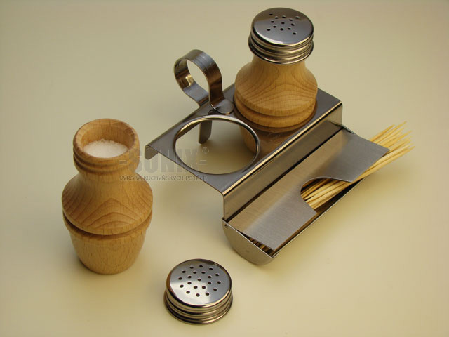 Salt and Pepper Pots - Stainless Steel + Beech Wood